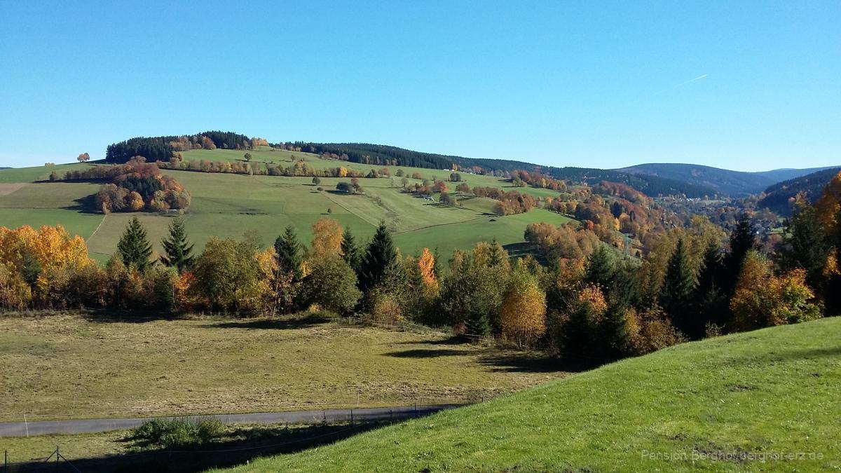 Aussicht im Herbst vom Gelände der Pension