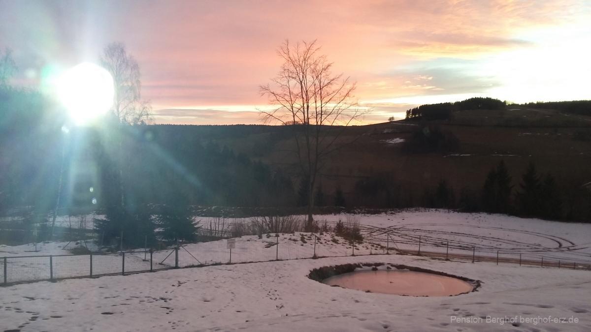 Morgenaufgang im Winter von der Pension